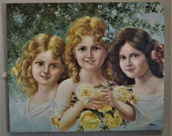 Original Painting Girls with Roses 1993 Vintage Art