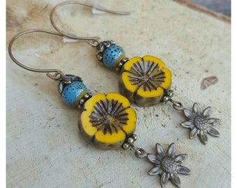 Yellow Sunflower Earrings - Boho Dangle Earrings - Bohemian Earrings - Dangle Drop Earrings - Boho Earrings - Gift for Her - Drop Earrings