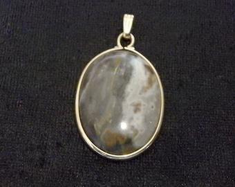 Vintage Gold Filled Oval Agate Stone Pendant  charm 1/20 12kt