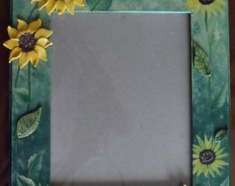 Sunflower Picture Frame Hand Painted Sunflowers Picture Frame Sunflower Decor Clay Sunflowers Picture Frame