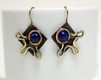 Metal Earrings, Mixed Metal Earrings, Boho Earrings, Bohemian Earrings Dangle Drop Earrings Boho jewelry Bohemian Jewelry Copper Anniversary