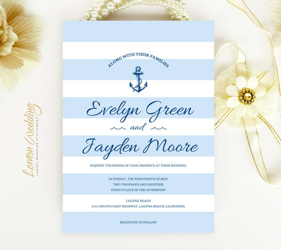 Nautical Wedding Invitation Printed Pearlescent Cardstock