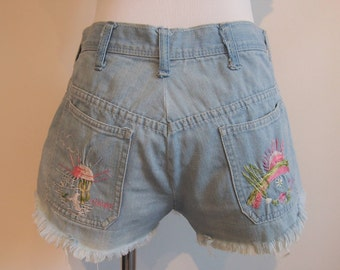 1960's Vintage High Waisted Jean Shorts; Cutoff Shorts; Vintage Denim Shorts