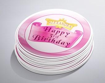 Custom Princess Birthday Stickers, 1st Birthday Princess Party, Pink Princess Birthday Party Favors, Personalized, Royal Princes