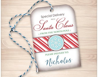 Printable gift tags or stickers christmas red candy cane printable special delivery from santa claus diy gift tags personalized name editable negle Images