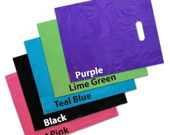 """100Pack 12x15"""" Pink Teal Blue SheerLime Purple Black Combo Plastic MERCHANDISE BAGS w/Die Cut Handles, Retail Gift Bags, Wholesale Lot"""