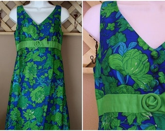 SAKS Fifth Avenue Vintage Sixties Mod Dress Shantung SILK Cocktail Party Blue Green Flower XS Size c.1960's