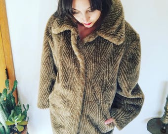 CoOl 1970s 1960s Penny Lane Brown Beige and White Tan ZigZag Faux Fur Coat