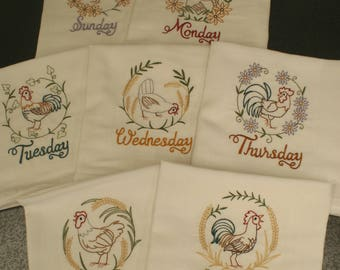 Roosters and Hens Days of The Week Embroidered Dish Towels (Set of 7) - Made to Order
