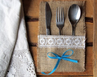 Burlap Linen Flatware Holder, Burlap Cutlery Pocket, Tableware Holder, Handmade with White Lace, Jute Pocket, Rustic Decor