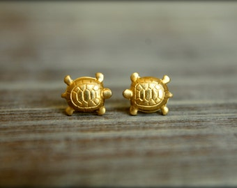 Little Turtle Earring Studs in Raw Brass, Raw Copper, or Silver Plated, Stainless Steel Posts