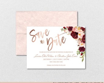 Save The Date Template - Rose Gold Floral Marsala Peonies Bouquet - Printable DIY PDF editable template -Download instantly| VRD130DGR
