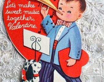 Vintage Valentine Card - Little Boy Blowing Horn Musician - School Valentine