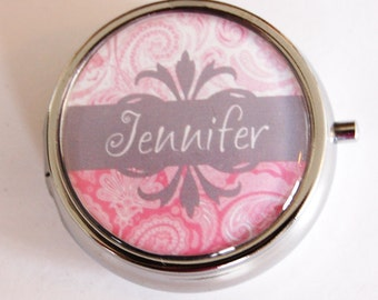 Personalized, Custom pill case, Custom pill box, Pill Box, Pill Case, case, custom, pink, grey, Pill Container, pill case with name (2199)
