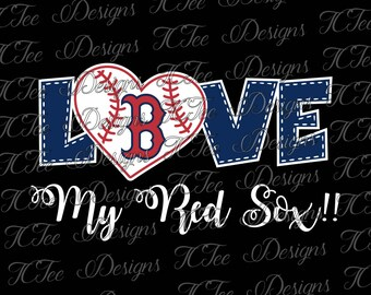 Love My Red Sox - Boston Red Sox Baseball - SVG Design Download - Vector Cut File