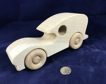"Wooden Car ""Car Toon"" Toy Unfinished and Handmade from Natural Hardwood Handcrafted Wood Toy Car for Toddlers  170423"