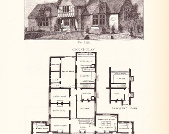 1892 architecture print house blueprint vintage antique 1885 architecture print house blueprint vintage antique art illustration interior design great for framing 100 years old malvernweather Image collections