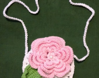 Girls Rose Purse - hand crocheted - Great for Easter!
