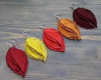 Bright Feather Earrings. Leather Feather Earrings. Suede Earrings. Bohemian Dangle Earrings. Colorful Boho earrings. Leather Jewelry.