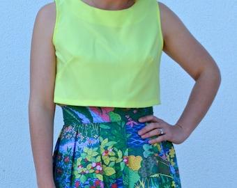 SALE ITEM!! Womens sleeveless crop top, bright yellow top, shift top, plain top