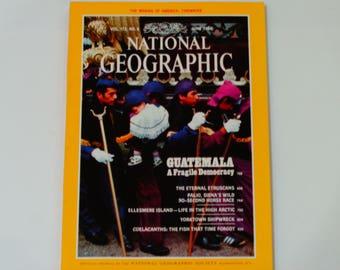 National Geographic Magazine w/ Tidewater Map June 1988 - Guatemala - Etruscans - Coelacanths - Ellesmere Island - Palio - Vintage Magazine