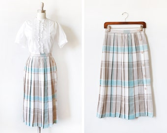 vintage pleated plaid skirt, 80s blue + tan midi skirt, 1980s button up wrap skirt, small s