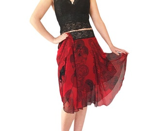 Tango Chiffon Circle Skirt With Lace Waistband;Red&BlackBigIndia