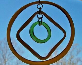 Recycled Glass Bottle Rings Suncatcher