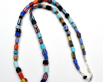 Chevron bead necklace, African necklace, African chevron layered necklace, Long necklace women, African jewelry, Trade bead necklace, Beaded