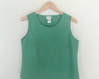 Vintage Linen Cropped Top Sleeveless Summer Fashion Boxy Linen Shirt Bohemian Boho Western Style Green Linen Crop Top Blouse Size Medium