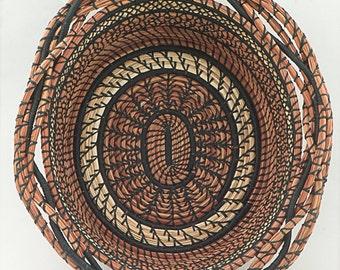 SIERRA   a pine needle and bear grass basket, oval basket ETSY