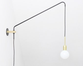 Brass and oxidized steel minimal Modern wall lamp, Potence lamp , Sconce lamp, Balance Lamp,