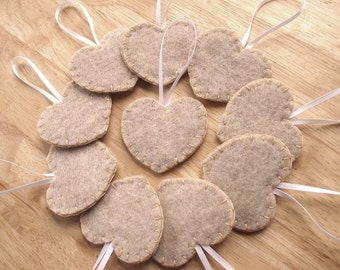 10 rustic wedding decorations, shabby brown heart ornaments, beige felt wedding decor, burlap wedding, country wedding, set of 10