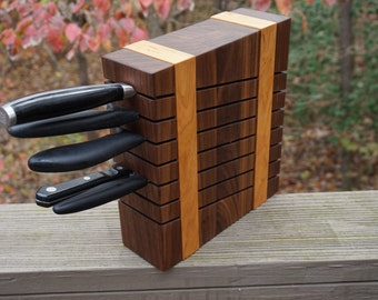 Walnut and cherry knife block