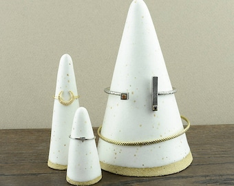 Set of Bracelet and Ring Cones - Jewelry Display Holders - Hand Made Stoneware Ceramic - Speckled Satin Matte Off White