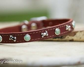 Brown Leather Collar // Brown Latigo Collar With Turquoise Stones // Leather Dog Collar // Small Leather Collar // Small Pet Collar