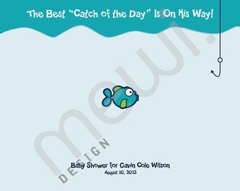 Fish Baby Shower Thumbprint Guest Book with Instructions (DIGITAL FILE)