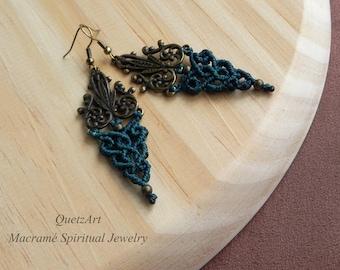 Macrame Boho Earrings. Bohemian jewelry. Hindú earrings. Gypsy earrings. Vintage jewelry. Gift for her. Dangle earrings.