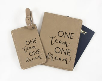 Custom Corporate Gift - Business Travel Passport Holder and Luggage Tag - Team Retreat - Team Spirit Gift - Gift for Team - Business Trip