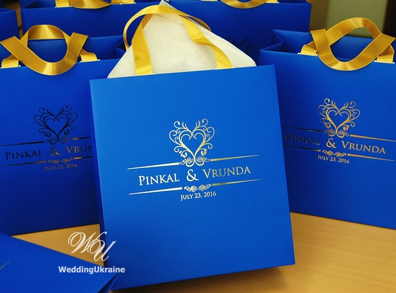 Very 100 Wedding gift bags with Gold satin ribbon and Gold foil QD47