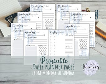 Daily planner printable - watercolor printable planner, planner insert, planner refill, daily to do list, DO2P, pre made planner