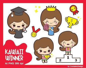 Kawaii girl clip art, graduation clipart, cute girl clipart, champion girl clipart, winner girl clipart, beauty queen, kawaii award clipart