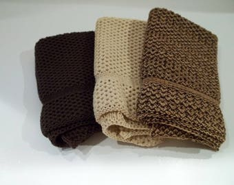 Dishcloths Knit in Cotton in Brown, Butter and Dk Brown/Acorn/Rice, Knit Dishcloth, Knit Washcloth, Dish Cloth, Wash Cloth, Cotton Dishcloth