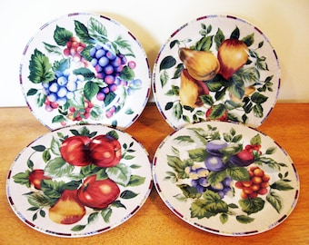 Set of 4 Sakura Sonoma Salad / Dessert plates by Oneida, colored fruits on creamy white, autumn fall dinnerware, replacement dishes