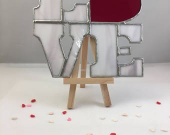 LOVE Heart Suncatcher - Stained Glass ornament decoration