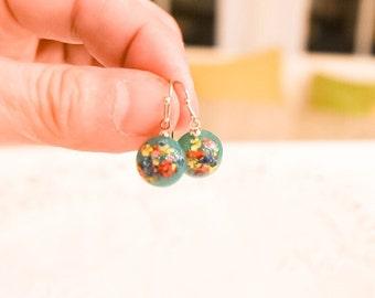 Resin Flower Earring;Green Earrings;Real Flower Earrings;Flower Earrings;Gifts For Girls;Best Friend Earrings;Sister Gifts;Boho Earrings;
