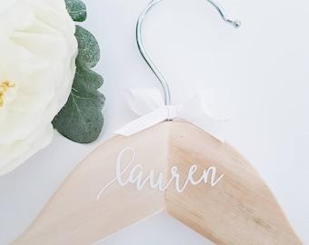 Natural Wooden Personalized Coat Hanger for Bridal Party, Wedding Hangers, Christening Coat Hanger
