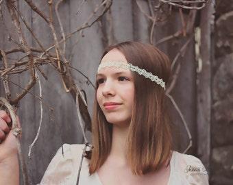 White Pearl Boho Headband - Womens Headband - Bohemian Headband - Bridal Headband - Hippie Headband - Halo Headband - Boho Headband - Womens