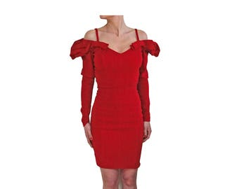 Blumarine red velvet bodycon dress 1980s