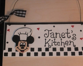 Kitchen Mickey Mouse Chef Wall Hanging - Personalized